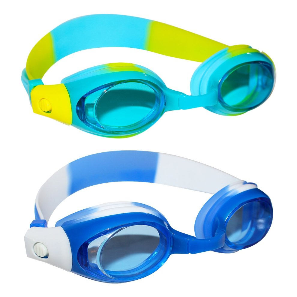 Pack of 2 Kids Swimming Goggles with 2 pairs of adjustable nose bridge and  free clear earplugs - UV protected Anti-fog Sports Goggles for girls and