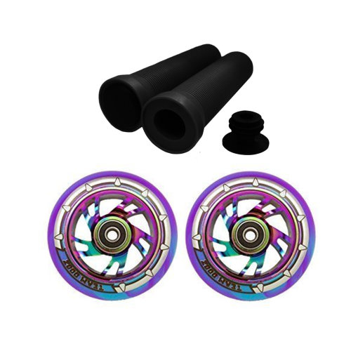 Pair Blue Purple Scooter Wheels 110mm Rainbow Core + Handlebar Grips