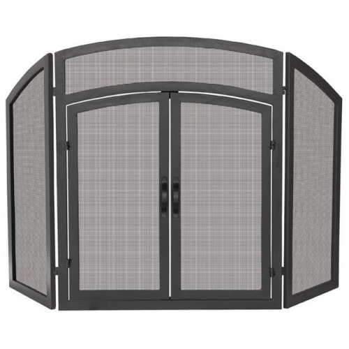 UniFlame S-1178 3 Fold Black Wrought Iron Arch Top w - Doors