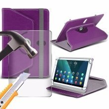 Itronixs - Asus Transformer Pad Tf300tl (10.1 Inch) Tablet Case Premium Pu 360 Rotating Leather Wallet with Tempered Glass Lcd Screen Protector Guard