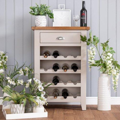 St. Ives Truffle Painted Oak Wine Cabinet
