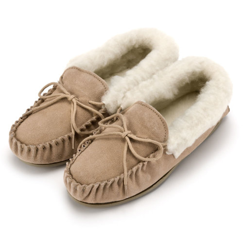 Ladies Wool Lined Moccasin Slipper with Hard Sole