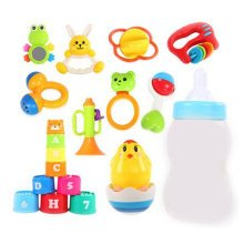 Teeth Biting Educational Toys Teether Hand Bell Toys Newborn Gift Set for Babies,8 Pcs+Tumbler+Cup