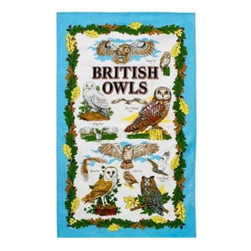 British Owls Tea Towel Tawny Short Long Eared Snowy Barn Little Souvenir Gifts