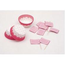 Cake Cups Pink & White & Picks Large24's