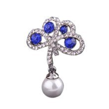 2 Pieces Of Elegant Brooch Diamond Blue Lucky Clover Brooch Clothes Accessories