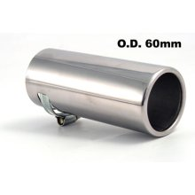 45cm - 55mm Silver Round Stainless Steel Exhaust Tip - Etech Pipe Trim Muffler -  etech stainless steel exhaust pipe trim tip muffler fits 45mm55mm