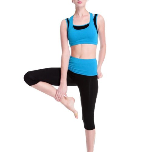 Women's No-Bounce Shock Running/ Yoga clothes Sports apparel (Blue,36C)