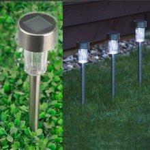 10 x Solar Powered Garden Lights Post Patio Outdoor Led Lighting Stainless Steel[10]