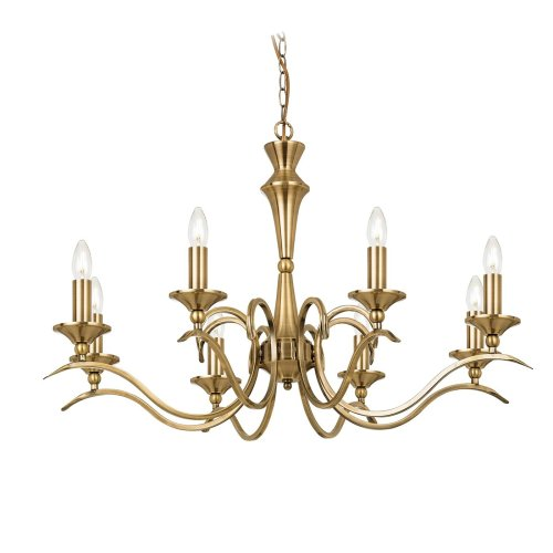 Traditional Brass 8 Light Pendant Convertible To Flush