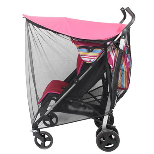 Soft Insect Netting Mosquito Nets Anti-UV Sunshade for Baby Stroller Cover-Red
