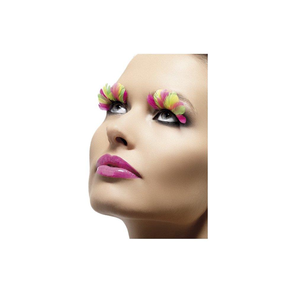 93600258c7b Fever Eyelashes - Neon Feathers - eyelashes feather fancy dress neon false  fake multi coloured womens. >