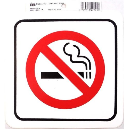 Barjan 454202 Duro 6 x 6 in. Stick-On No Smoking Decal - Pack of 12