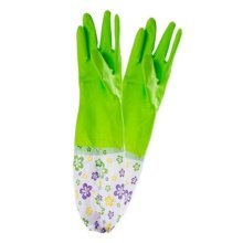 2 Pairs Rubber Cleaning Gloves with Lining Long Dishwashing Gloves, Green Flower