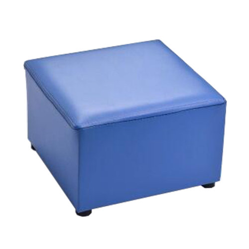 Fashionable Square Faux Leather Modern Small Stool Table Stool Sofa Pier Ottoman Stool, Blue