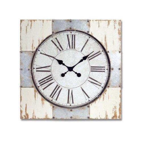 Melrose International 70706 27.5 in. Wall Clock Metal & Wood & Glass, White Brown