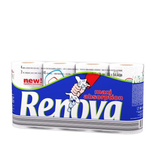 Renova Maxi Absorption Kitchen Tissue Paper Roll with New Hydroflow Technology (40 Rolls)