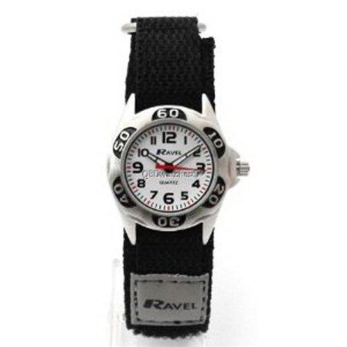 Ravel Analogue Boys Black & Grey Fabric Velcro Strap Watch R1507.29