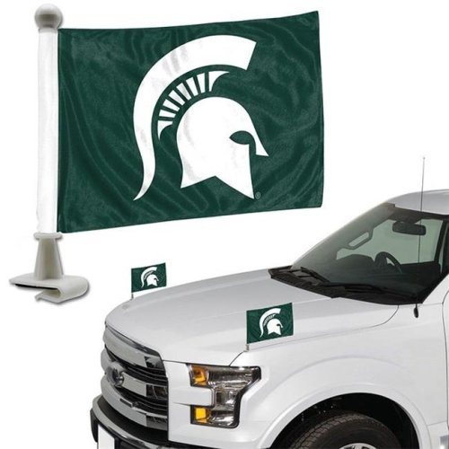 Team ProMark 76829 4 x 6 in. Michigan State Spartans Ambassador Car Flag, Set of 2