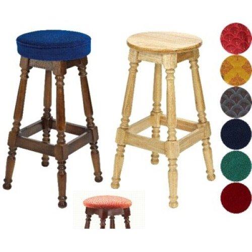 Tamara Wood Bar Stool - Padded / Unpadded Burgundy Fabric Piped Upholstery Walnut