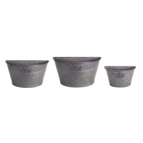 Melrose International 70447 8.5, 10 & 12 in. Half Tub Container Metal, Tin - Set of 3