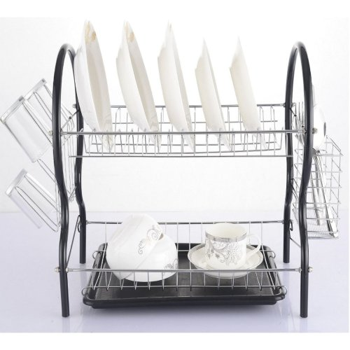 Vinsani Contempo 2 Tier Drainer Rack Drip Tray Holder Dishes Cutlery Cup Black