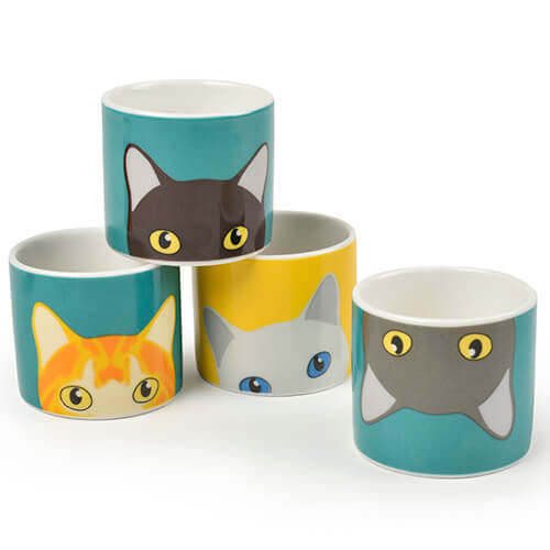 Burgon & Ball Creaturewares Doris Cat Set of 4 Fine China Egg Cups