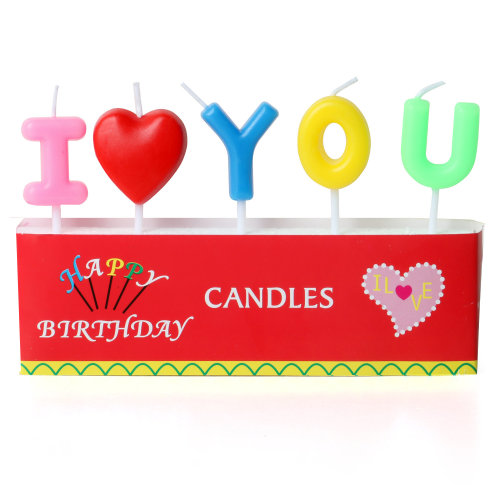 "TRIXES Multi Coloured ""I love you"" Novelty Cake Candles"