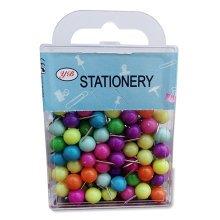 Office Supplies Steel Thumb Tacks Colored thumbtack Push Pins Box of 100