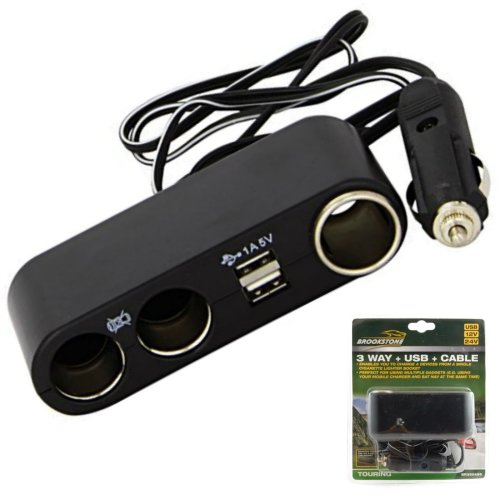 3 Way Car Cigarette Socket Lighter Splitter Charger Power Adapter USB