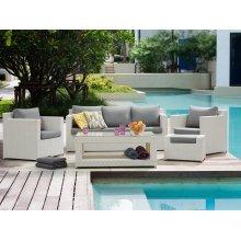 Sectional Outdoor Sofa Set - 5- Piece Patio Conversation Set with Ottoman - White - ROMA
