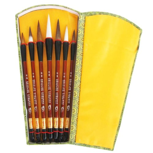Painting & Calligraphy Tools Set of 7 Chinese Writing Brushes -Box Package