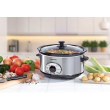 Daewoo 4.5L Digital Slow Cooker Stainless Steel Non Stick Casserole Oven Steam