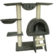 Cat Tree 105 cm Grey Plush with 2 Scratching Posts