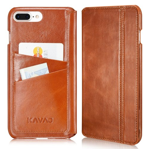 hot sale online fa253 ff3ad KAVAJ iPhone 8 Plus iPhone 7 Plus Case Leather Dallas Cognac-Brown Slim-Fit  Genuine Leather iPhone 8 Plus Wallet Case Leather Flip Case Folio...