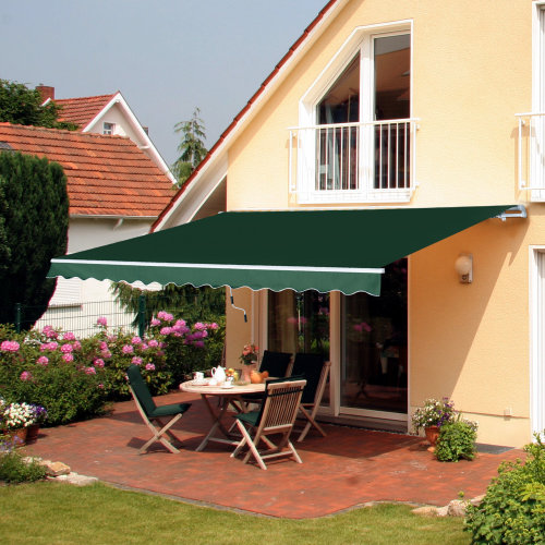 Outsunny Retractable Awning, 3,5x2,5 m-Green