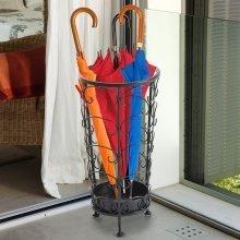 Homcom Antique Metal Round Umbrella Stand Floral Design Vintage Holder Rack