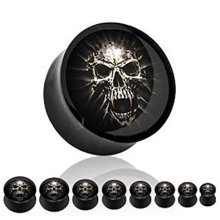 Screaming Skull Jumping Out Picture Inlay Black Solid Acrylic Ear Tunnel Saddle Plug Piercing Finest Quality Materials