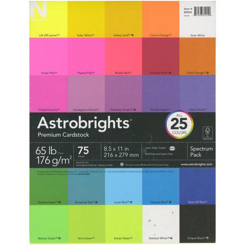 "Neenah Astrobrights Spectrum Cardstock Pack 8.5""X11"" 75/Pkg-25 Colors"