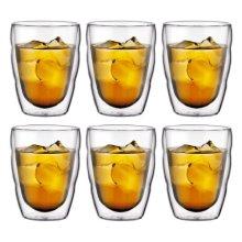 Bodum PILATUS  Glass Set (Double-Walled, Isolated, Dishwasher Safe, 0.25 L/8 oz) - Pack of 6, Transparent