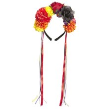 Flower Headband With Mulitcoloured Ribbon - Day Dead Halloween Fancy Dress -  flower headband day dead mulitcoloured ribbon halloween fancy dress