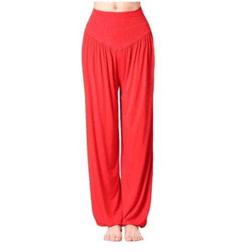 Solid Modal Cotton Soft Yoga Sports Dance Fitness Trousers Harem Pants, G