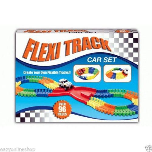 96 Pieces Flexible Track Car Set Make Your Own Tracks Kids Fun Toys Children