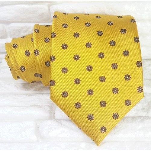 Luxury neck tie silk yellow Jacquard Made in Italy