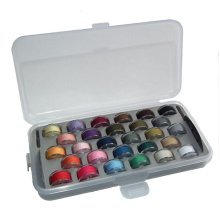 Pack of 28 Filled Machine Sewing Bobbins In a Plastic Storage Organiser