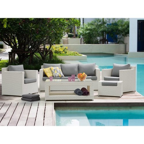 Sectional Outdoor Sofa Set - 5- Piece Patio Conversation Set with Ottoman - White - ROMA