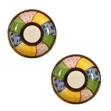 2PCS Round Chinese Creative Small Dishes Snack Plate Sauce Dish Mustard Sauce Ceramic Saucepan, A