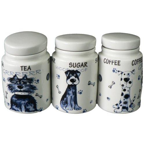 Dogs Ceramic Tea Sugar Coffee Storage Jars Set Of 3 Small Canisters
