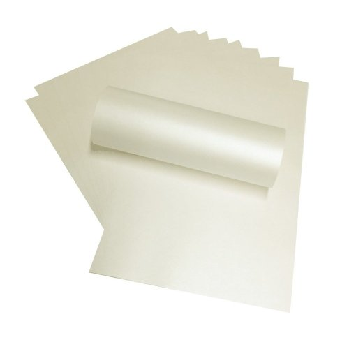 20 x A4 Quarzo Pale Ivory Peregrina Majestic Pearlescent Paper Double Sided 120gsm Suitable for Inkjet and Laser Printers