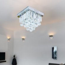 Homcom Square Crystal Lamp Chandelier Modern (5 Light)